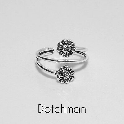 925 Sterling Silver Two Flowers Adjustable Toe Ring