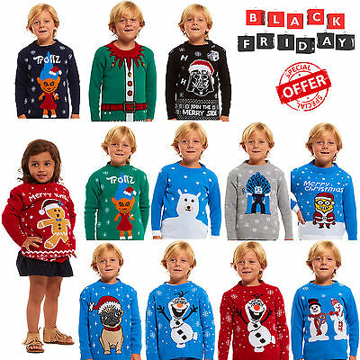 New Kids Childrens Boys Girls Xmas Christmas Winter Jumper Sweater Knitted Retro