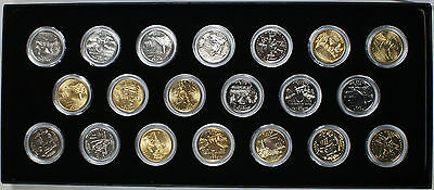 1999-2002 Gold Plated and Silver Plated State Quarters 25c Twenty Coin Set & 24 K GOLD Plated State Quarter-One Quarter-25 Cent Uncirculated + ...