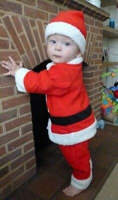 Baby Boys Christmas Xmas Santa Claus Fancy Costume Dress Outfit Hat 6 12 18 24m