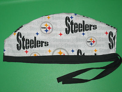 Surgical Scrub Hats/Cap NFL  Pittsburg Steelers white with black and gray print