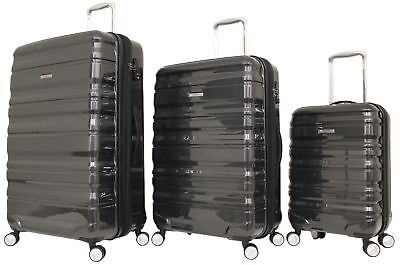 Australian Luggage Co Sub Zero 3 Piece Hardsided Spinner Luggage Set - Black