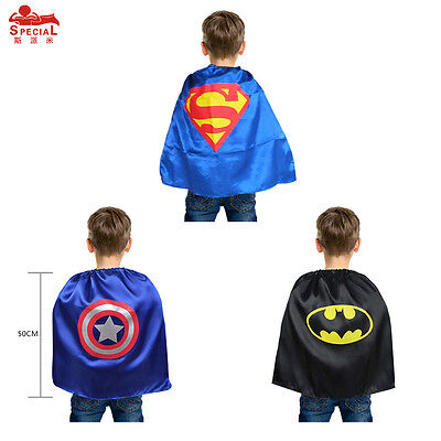 New 50cm Unisex Children Superhero Comic Book Hero Cape Fancy Dress Costume