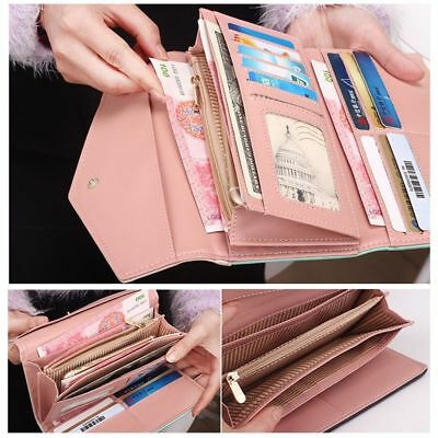 Women Lady Leather Clutch Wallet Long PU Card Holder Envelope Purse Handbag