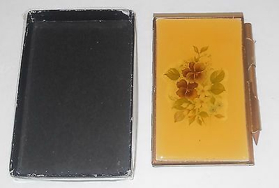 Vintage Floral Violets Small Address Book Pocket Purse Size with pencil