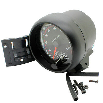 Carbon 3.75 RPM Tacho Tachometer Gauge Meter With Red Shift Light High Quality