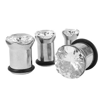 2Piece Gem Crystal Stainless Steel Ear Plugs Stretcher Expander Ear Gauge 4-12MM