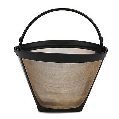 New Gold Tone Permanent Coffee Filter Maker Basket Style Strainer 8-12-Cups