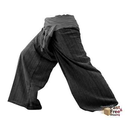 Thai Fisherman Pants Yoga Cotton Baggy Trousers Gray Charcoal Unisex Free Size