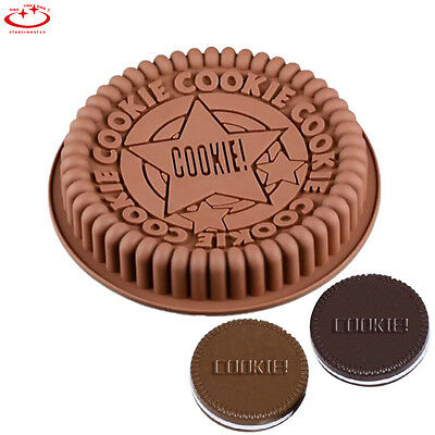 """9"""" Large Size Oreo Cookie Silicone Cake Mold Pan Pizza Tray Round Mould Bakeware"""