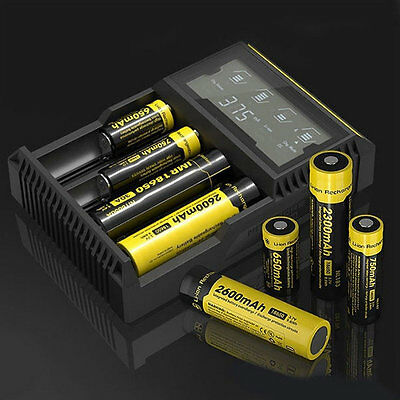 D4 LCD Battery Charger For AA/26650/18650/14500/18350/16340 US Plug FG
