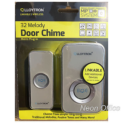 Lloytron Plug In Wireless Portable Musical Door Chime 32 Melodies Silver / Grey