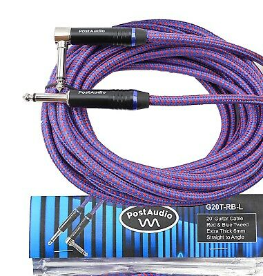 Post Audio 20'Red & Blue Tweed Premium Angle Guitar Cable 10 Year Warranty