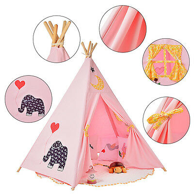 Kids Giant Canvas TEEPEE Tipi WIGWAM Childrens Indoor Play Tent Party Garden