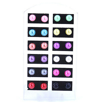 12 Pairs Women Fashion Party Color Jewelry 6MM Pearl Round Ear Stud Earrings Set