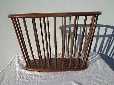 Mid Century Modern Magazine Rack Holder Stand Decor Wood Spindle Dividers