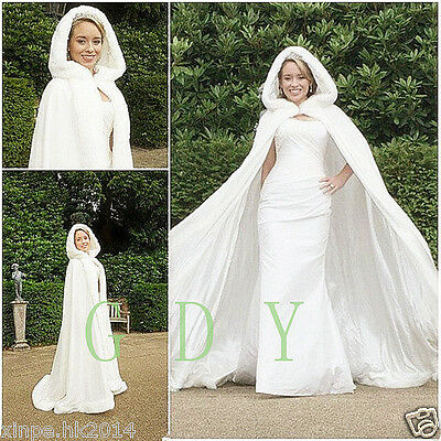 New Bridal Winter Warm Long Wedding Cloak Cape White Faux Fur Cape