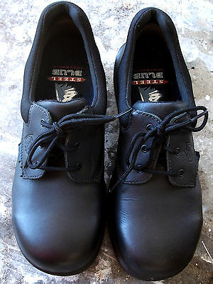 STEEL BLUE black leather steel toe safety shoes Australian womens 7/38 ex cond!