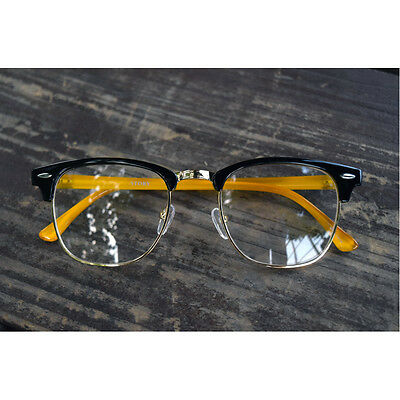 1920s Vintage Trendy tom eyeglasses frames 07R10 black yellow kpop ford frames