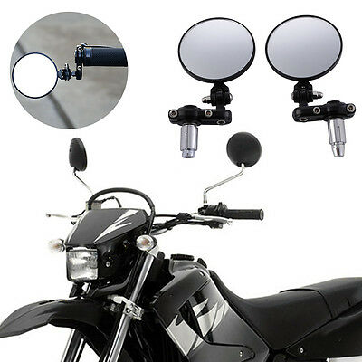 For Handlebar Motorcycle Bicycle Side Rear View Mirror Rearview Mirror Black