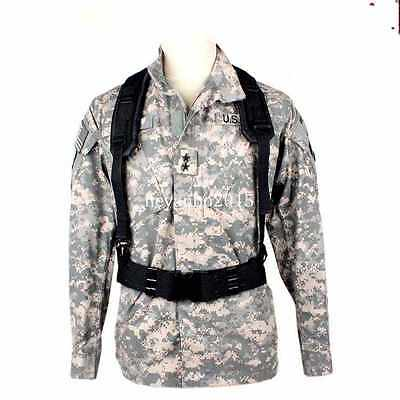 Tactical Nylon Combat Y-Type Load Bearing Suspenders And Heavy Duty Belt Black