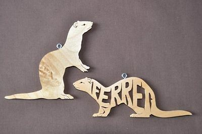 2 Ferret Wood Hand Made Christmas Ornaments Hang Tags