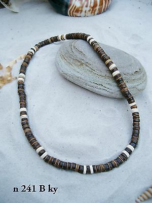10 NEW SURFER SKATER BROWN ELASTICATED NECKLACE WOOD BEADS WHOLESALE / n241Bky