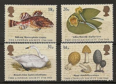 GB MNH STAMP SET 1988 Linnean Society SG 1380-1383 10% OFF FOR ANY 5+