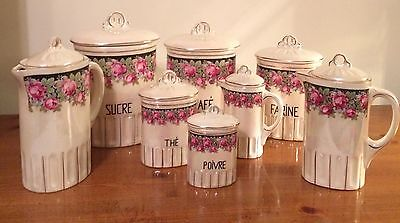 French Lusterware Canister Set 16 Pieces