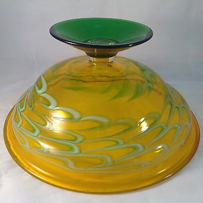 VINTAGE Large YELLOW & GREEN Hand Made PEDESTAL Centrepiece FRUIT BOWL