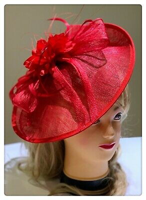 Classic Sinamay Fascinators Vintage Red Flower Races Wedding Party