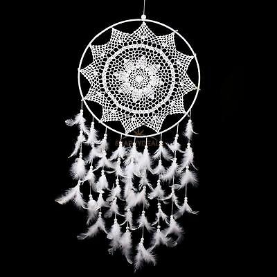 36.6'' Big Size White Handmade Dream Catcher With Feathers #EAL