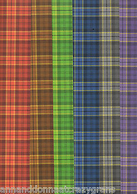 """20 Sheets Of Mixed Tartan Creative Paper Strips - 4"""" X 12""""  Crafting   Cpa070"""