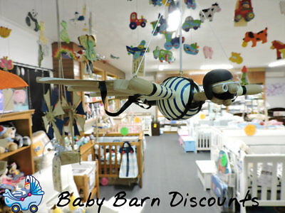NEW Wooden Blue Flyman Mobile from Baby Barn Discounts