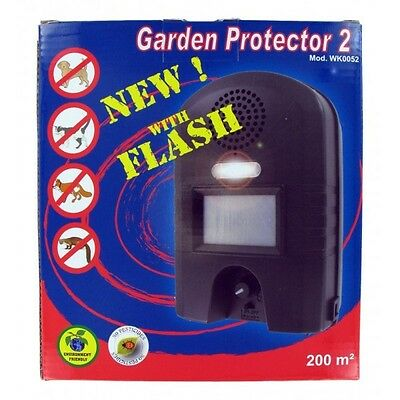 GARDEN PROTECTOR 2 Flash ULTRASON Répulsif CHASSE CHATS CHIENS SANGLIER...