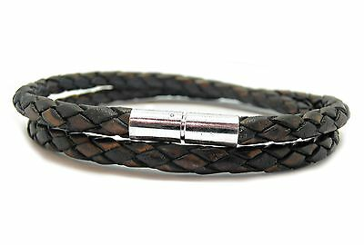 Mens Leather Bracelet-5mm Braided-Double-Sterling Silver Twist Clasp-Ant Brown