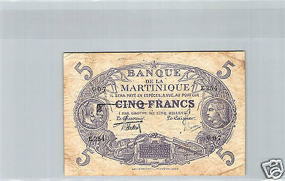 Martinique 5 Francs Loi 1901 (1934) E.254 N° 007 Pick 6
