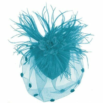 Zad Womens Feather Mesh Fascinator Hair Net Clip Cocktail Hat w/Flower