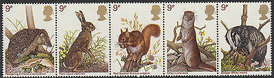 GB MNH STAMP SET 1977 British Wildlife Strip SG 1039-1043 UMM