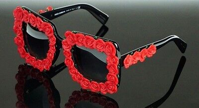 4470ec7770 RARE NEW Genuine Dolce   Gabbana Red Flowers Wedding Sunglasses DG4253 501  8G