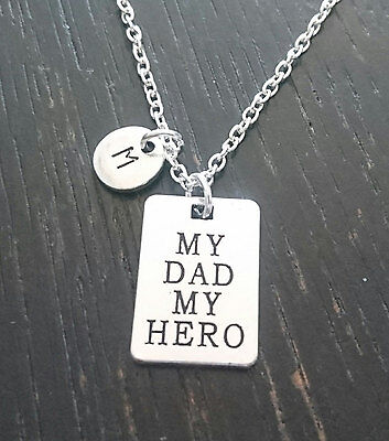 PERSONALIZED My Dad my Hero Necklace - choose an Initial, Dad Daughter Gift