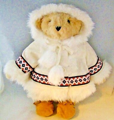 Vermont Teddy Bear Arctic Holiday Bear Eskimo Coat Shoes Jointed Beige