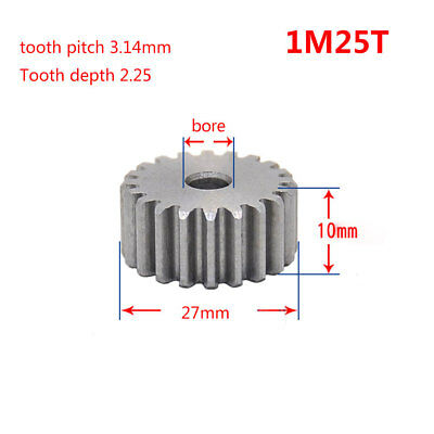 1 Mod 25T Spur Gear 45# Steel Pinion Gear Thickness 10mm Outer Dia 27mm x 1Pcs