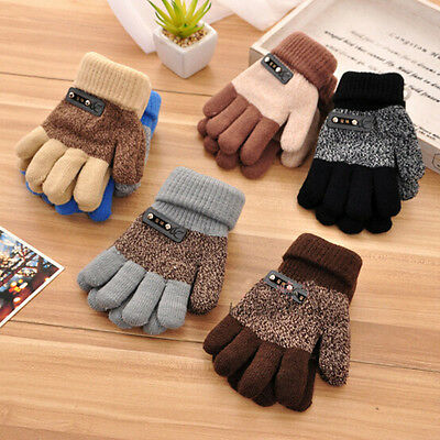 Boys Kids Children Warm Knitted Gloves Winter Thick Full Mitten Finger Protector