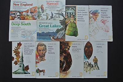 Lot 10 National Geographic THE MAKING OF AMERICA & CLOSE-UP USA Maps History Vtg