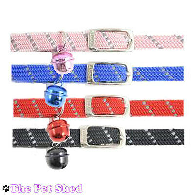 Cat Kitten Pet Softweave Reflective collar with bell- Pink, Blue, Red, Black