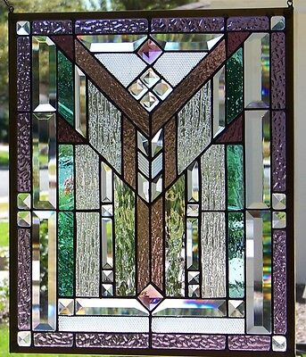 """Stained Glass Window Hanging Mission Style 20 X 16 5/8"""""""