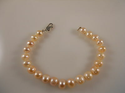 Pink Round Shape Freshwater Pearl Bracelet With Sterling Silver Clasp