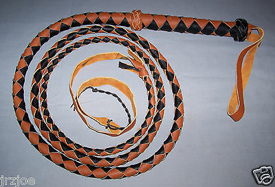 8 Foot 4 Plait BLACK AND TAN LEATHER  BULLWHIP INDIANA JONES STYLE (bull whip)