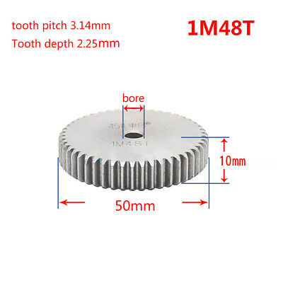 1 Mod 48T Spur Gear Steel Motor Pinion Gear Thickness 10mm Outer Dia 50mm x 1Pcs